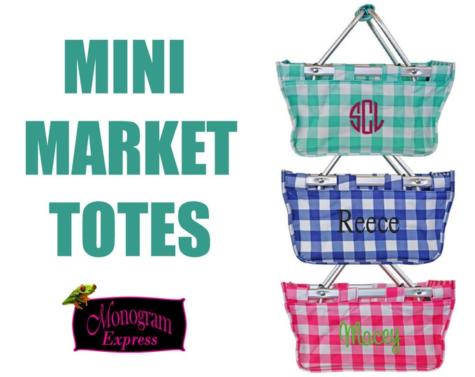 Personalized Mini Market Tote | Monogrammed Mini Market Baskets | Hot Pink Tote | Embroidered Tote | Check Print Mini Market Totes | Baskets