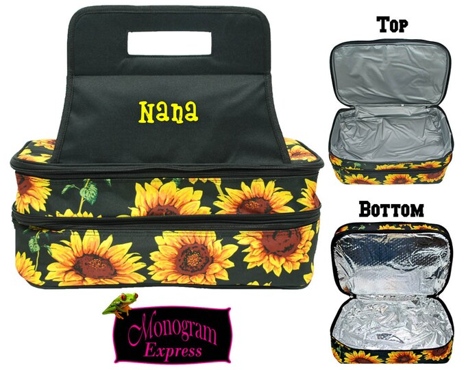 Personalized Double Casserole Carrier | Monogrammed Casserole Tote | Insulated Casserole Tote | Hot or Cold Food Carrier | Sunflower Carrier