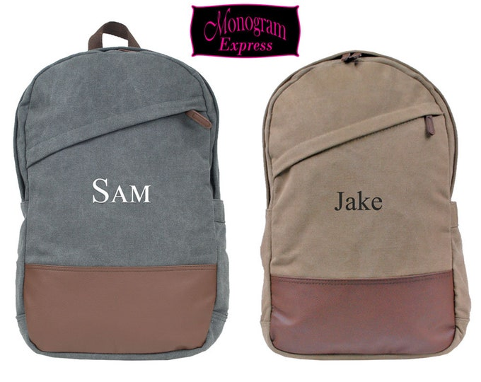 Mens Personalized Cotton Canvas Computer Backpacks | Monogrammed Unisex Laptop School Book Bags | College Backpacks with Vegan Trim Grey Tan