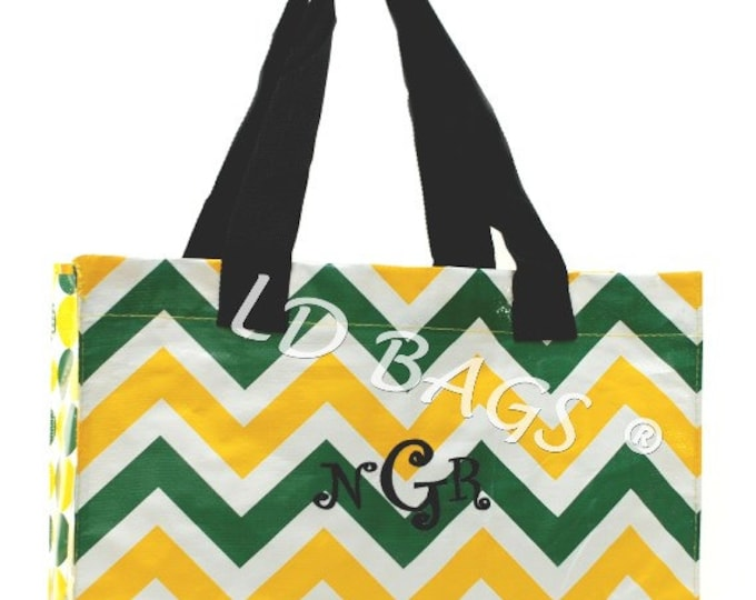 Monogrammed Chevron Tote | Personalized Chevron Shopping Bag | Reusable Shopping Bag | Custom Gift Bag | Large Chevron Green and Yellow Tote