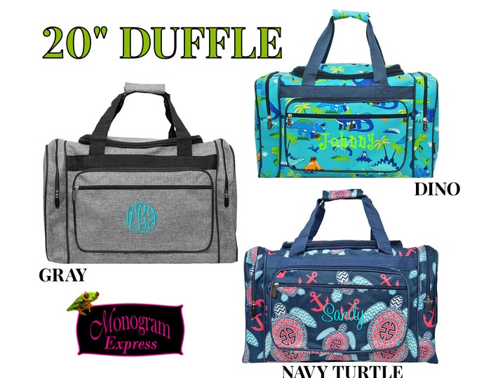 "Monogrammed Duffle Bag   Personalized Duffel Bag    Overnight Bag   Men Travel Bag   Navy Turtle Bag   Dino Duffle   Grey Duffle 20"""
