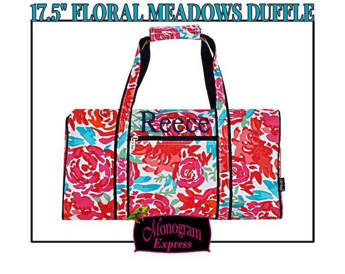"Personalized Duffle Bag   Monogrammed Duffle Bag   Womens Duffle Bag   Overnight Duffel   Monogram Travel Bag   Floral Meadows Round 17.5"""