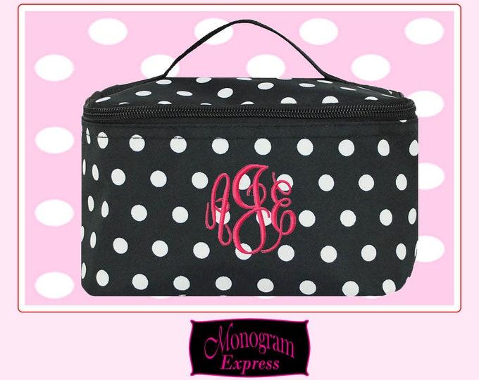 Personalized Cosmetic Bag   Bridesmaid Gift   Custom Makeup Bag   Cosmetic Travel Bag   Monogrammed Cosmetic Bag   Polka Dot Cosmetic Bag