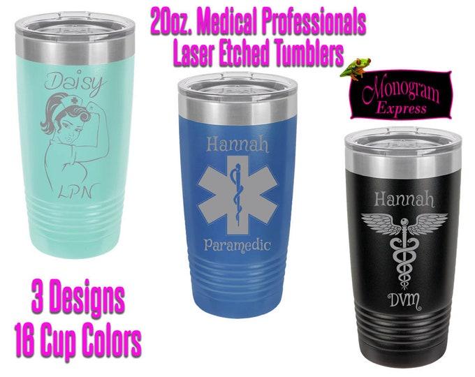 Personalized Nurses Paramedics 20 oz. Insulated Travel Tumbler | Laser Etched Medical Professional Tumbler | Customized Tumbler With Lid