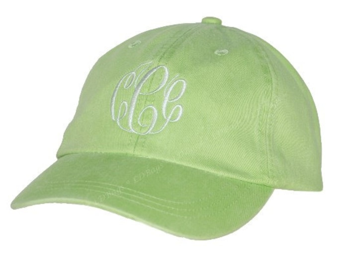 Monogrammed Baseball Hat | Personalized Baseball Hat | Bridesmaid Baseball Hat | Ladies Cap | Shade Hat | Sun Hat | Lime Green Baseball Hat