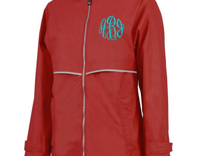 Monogrammed Womens Rain Jacket | Personalized Ladies Rain Coat | Hooded Mesh Lined Full Zip Reflective Trim | Rain Slicker | Red Grey Trim