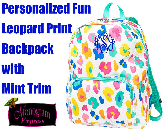 Personalized Multi Colored Backpack | Monogram Backpack | Girls Fun Leopard Print Backpack | Colorful Women's Backpack | Everyday Backpack
