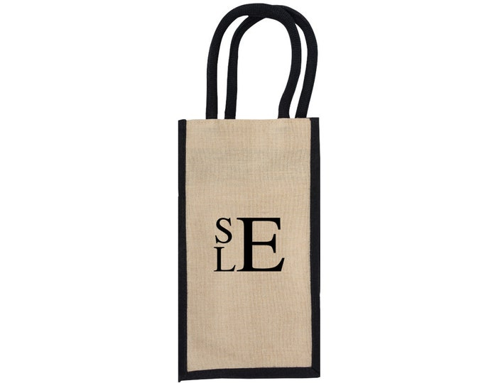 Monogrammed Wine Carrier | Personalized Wine Bag | Wine Enthusiast Gift | Housewarming Gift | Bottle Holder Tote | 4 Bottle Juco Wine Tote