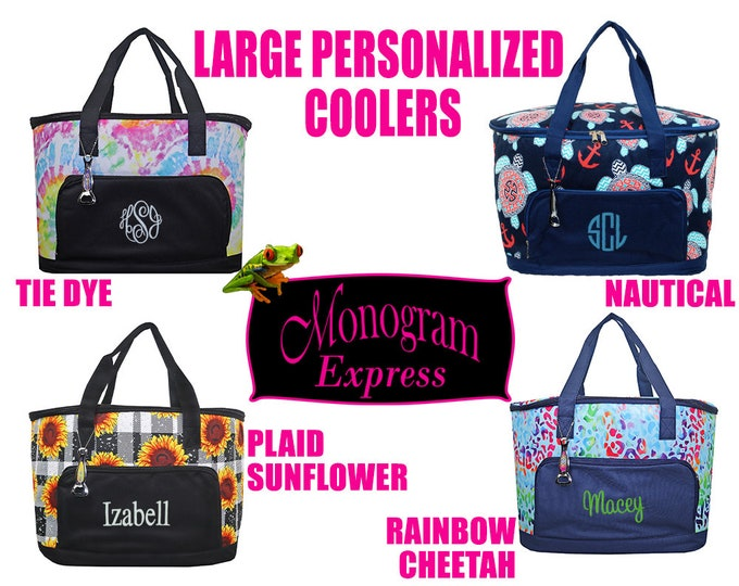 Personalized Large Coolers | Tie Dye Printed Cooler | Plaid Sunflower | Rainbow Cheetah | Nautical Print | Beach Day Cooler | Family Cooler