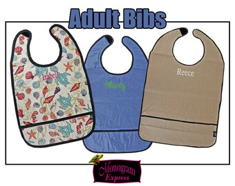 Personalized Adult Bib With Crumb Catcher | Monogrammed Dining Cover-Up | Stain-Resistant Reusable Bib | Machine Washable Clothing Protector