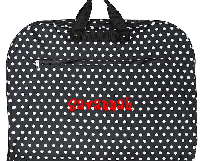 Personalized Garment Bag    Women Clothes Bag   Luggage Travel Bag   Dance Cheer Garment Bag   Personalized Gift   Black and White Polka Dot