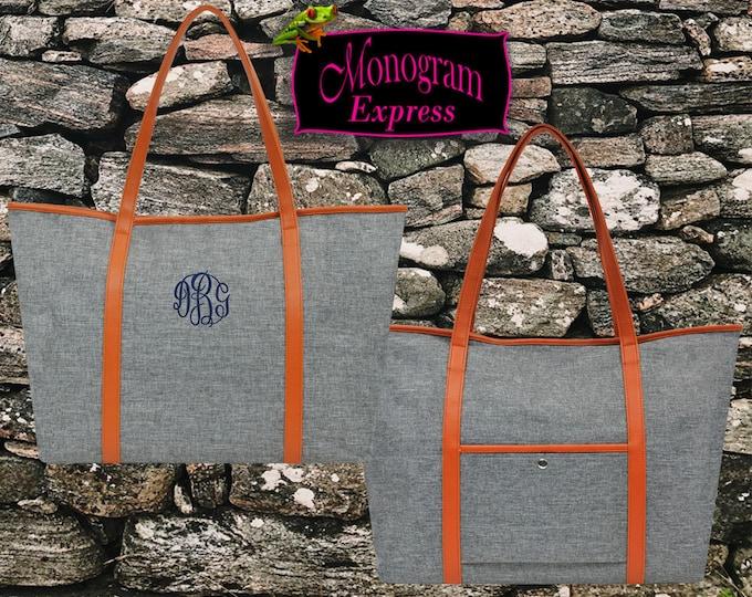 Monogrammed Tote Bag   Professional Work Tote   Personalized Weekend Bag   Beach Bag   Travel Tote   Custom Gift   Gray Zippered Ladies Tote