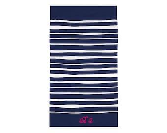 Monogrammed Towel   Beach Towel   Cabana Towel   Pool Towel   Bath Towel   Large Beach Towel   Terry Velour Towel   Blue White Striped Towel