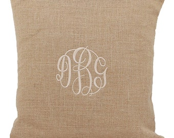 Monogrammed Burlap Pillow Cover | Personalized Pillow Cover | Pillow Sham | Wedding Gift | Pillow Cover | Pillow Case | Jute Pillow Cover