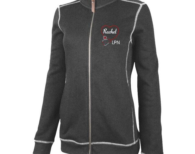 Personalized Women's Nurse Jacket | Monogrammed Healthcare Apparel | Medical Field Credentials | RN, MD, LPN Gifts | Health Flatback Jacket