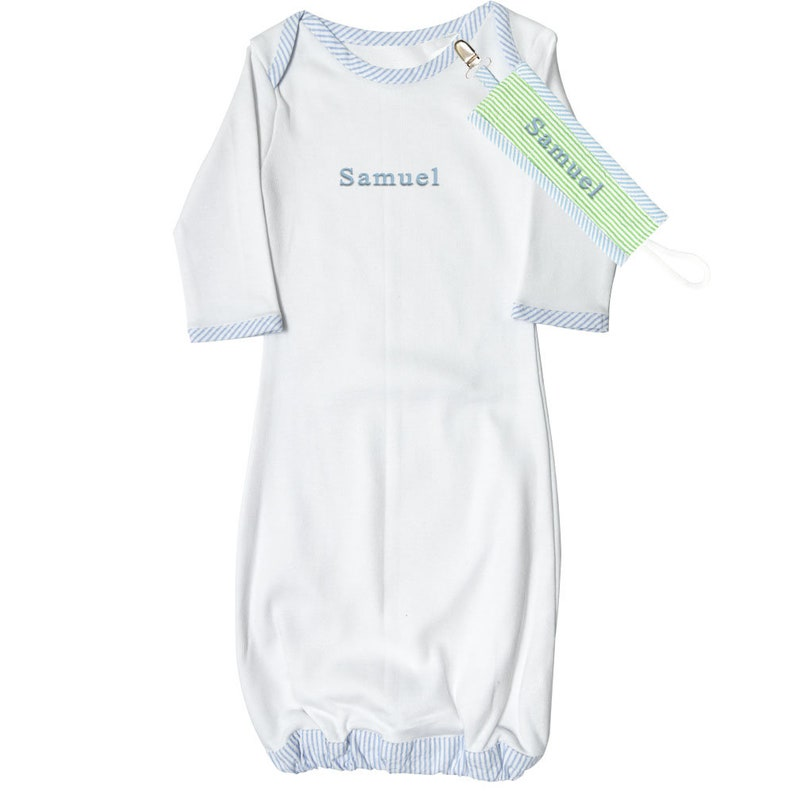 Monogrammed Baby  Infant Gown With Matching Paci Clip Seersucker Sleep Sets Newborn Baby Coming Infant Clothes Baby Clothes Baby Going Home