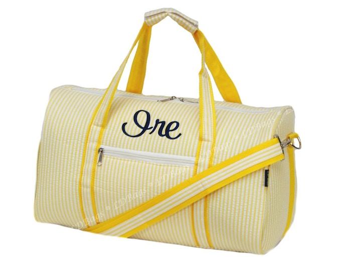 "Monogrammed Duffle Bag   Personalized Ladies Duffle Bag   Bridesmaid Gift   Cheer Bag   Dance Duffel   Yellow Seersucker Duffel Bag 17.5"""