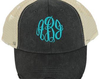 Personalized Trucker Hat   Women Baseball Hat   Monogrammed Baseball Hat    Bridesmaid Trucker Hat   Trucker Cap   Black Beige Mesh Back Hat