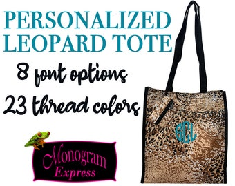 Personalized Neutral Leopard Printed Tote | Women's Everyday Totebag | Work Tote | Personalized Bridesmaid Gift | Black Trim Leopard Tote