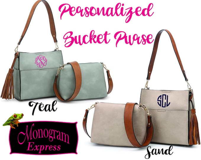 Personalized Bucket Bag | Monogrammed Women's Purse | Guitar Strap Purse | 2 in 1 Purse | Custom Handbags | Everyday Purse | Embroidered Bag