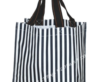Monogrammed Black and White Stripe Shopping Bag   Halloween Bag   Personalize Candy Bag   Reusable Grocery Bag   Black Stripe Halloween Tote