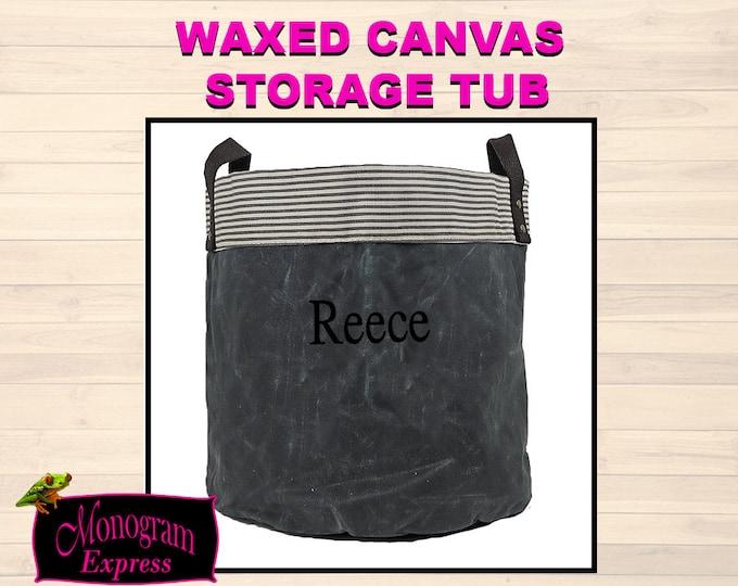 Personalized Canvas Tub | Waxed Canvas Storage Bin | Kids Toy Bin | Monogram Storage Bucket | Customized Storage Bin | College Storage