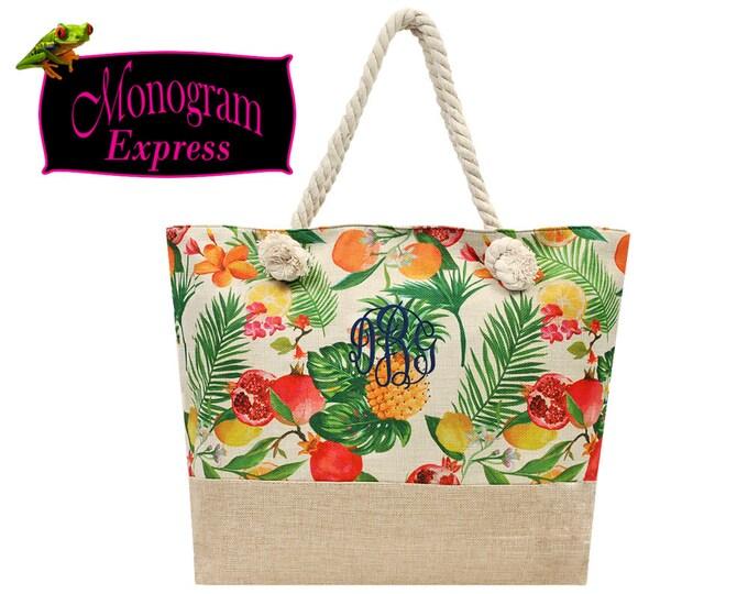 Monogrammed Tote Bag | Lightweight Beach Bag | Personalized Tote | Vacation Tote | Pool Bag | Custom Gift | Summer Fruit Ladies Tote