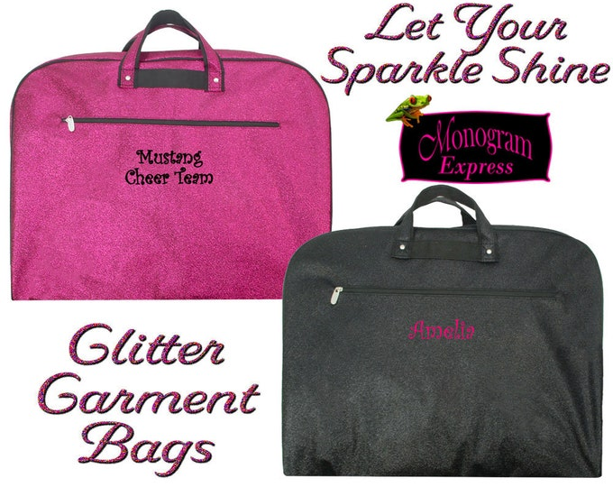 Personalized Girls Garment Bag   Cheer Team Bag   Teenager Travel Bag    Monogrammed Dance Bag   Gymnastic Hanging Bag   Glitter Garment Bag