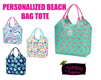 """Personalized Beach Bag   Monogrammed Summer Tote   Vacation Tote   Pool Bag   Weekend Travel Tote   Family Day Bag   3.5"""" Monograms"""
