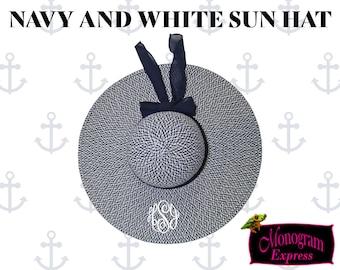 Personalized Navy and white Floppy Hat   Women's Sun Hat   Seagrass Hat   Monogrammed Sun Hat   Preppy Ladies Hat   Beach Day Hat  
