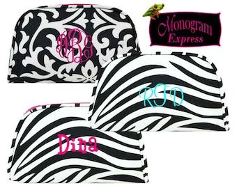 Personalized Cosmetic Bag   Monogrammed Makeup Travel Bag   Girls Makeup Bag   Bridesmaid Gift   Damask Zebra Hot Pink Trim Cosmetic Case
