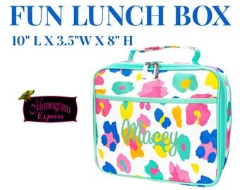 Personalized Fun Lunch Box | Girls Lunchbox | To go Lunch bag | Fun Leopard | Mint Trim Lunchbox | Leopard Lunch | Color Leopard Lunchbox