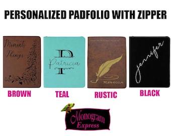 "Personalized Padfolio | Vegan Leather Portfolio | Engraved Gifts | Customized Notebook | Reusable Pad-folio | Professional | 9.5 x 12"" Pad"