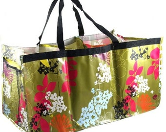 Monogrammed Tote Bag   Personalized Tote Bag      Personalized Gift   Trunk Organizer   Embroidered Toy Organizer   Botany Floral Trunkster