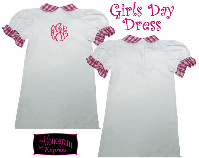 Personalized Baby Dress | Monogram Dress | Baby Shower Gift | Mother to Be Gift | Baby Gift | Baby Girl Gift | Pink Ruffle Gingham Day Dress