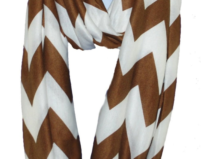 Womens Monogrammed Brown Infinity Scarf | Personalized Tube Scarf | Wide Stripe Winter Scarf | Continuous Loop Brown Chevron Infinity Scarf