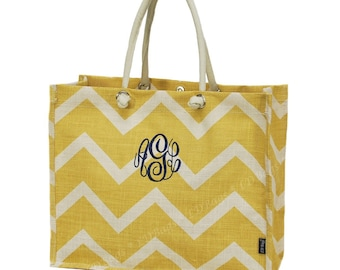 Personalized Jute Tote   Monogrammed Shoulder Bag   Top Handle Tote   Eco-Friendly Juco   Personalized Gift   Gold Beige Chevron Jute Tote