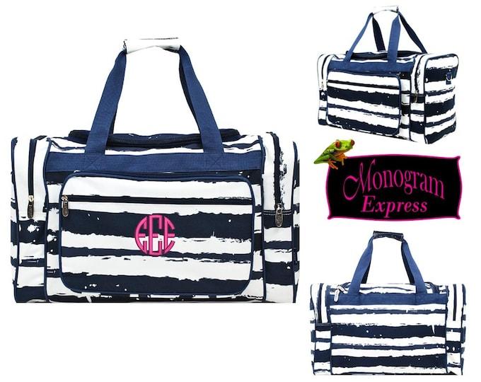 "Personalized Duffel Bag   Monogrammed Weekender Bag   Kids Overnight Travel Bag   Kids Birthday Gift   Sports Bag   20"" Duffle Stripe Navy"