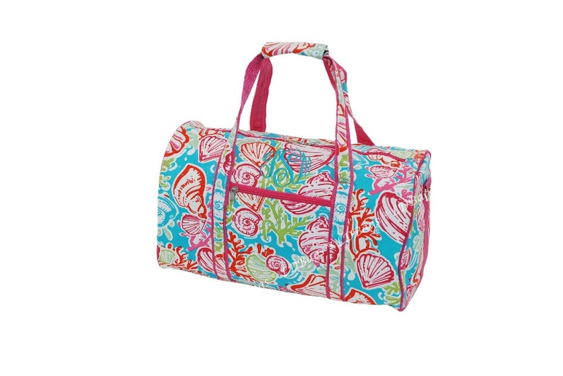 2928c2367b Personalized 17 Pink Trim Seashell Duffle Bag