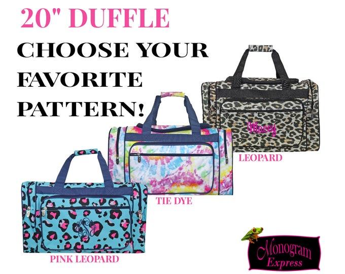 "Leopard Print Duffle | Monogrammed Duffle Bag | Girls Dance Bag | Gym Bag | Tie Dye Duffle | Overnight Bag | Pink Leopard Spots Duffle 20"""
