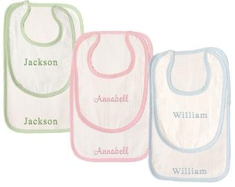Monogrammed Bib and Burp Cloth | Personalized Bib and Burp Cloth | Baby Shower Gift | Seersucker Infant Set | Seersucker Bib and Burp Cloth