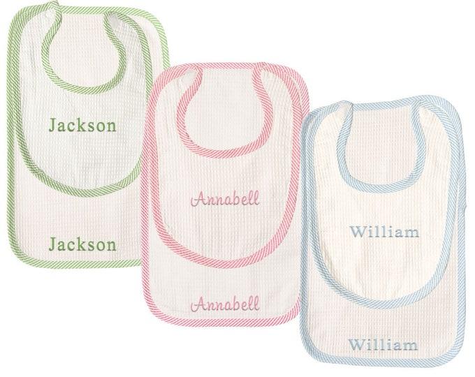 Monogrammed Bib and Burp Cloth   Personalized Bib and Burp Cloth   Baby Shower Gift   Seersucker Infant Set   Seersucker Bib and Burp Cloth