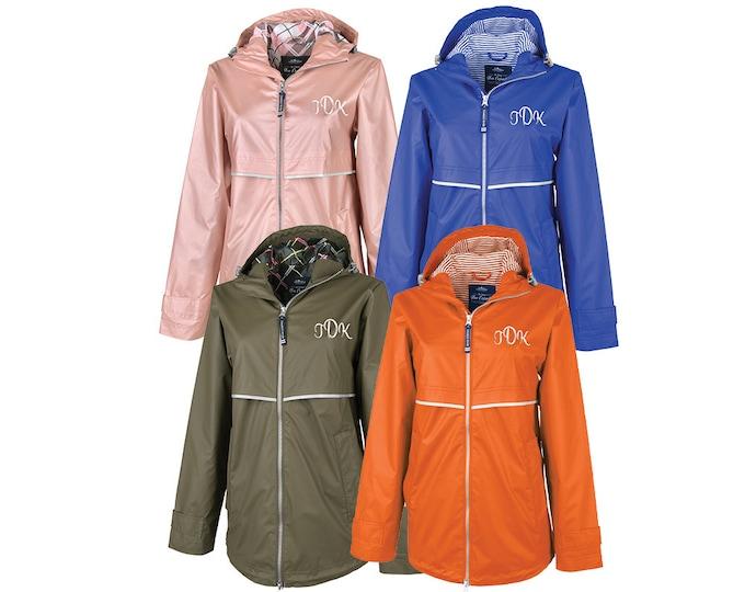 Monogram Rain Jacket Womens Rain Jacket Full Zip Rain Coat Personalized Raincoat Monogrammed Outerwear Waterproof Rain Coat Charles Rivers