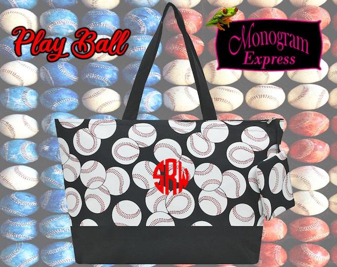 Monogrammed Baseball Tote   Personalized Sports Bag   Large Beach Tote   Baseball Player Gift   Oversized Travel Bag   Baseball Design Tote