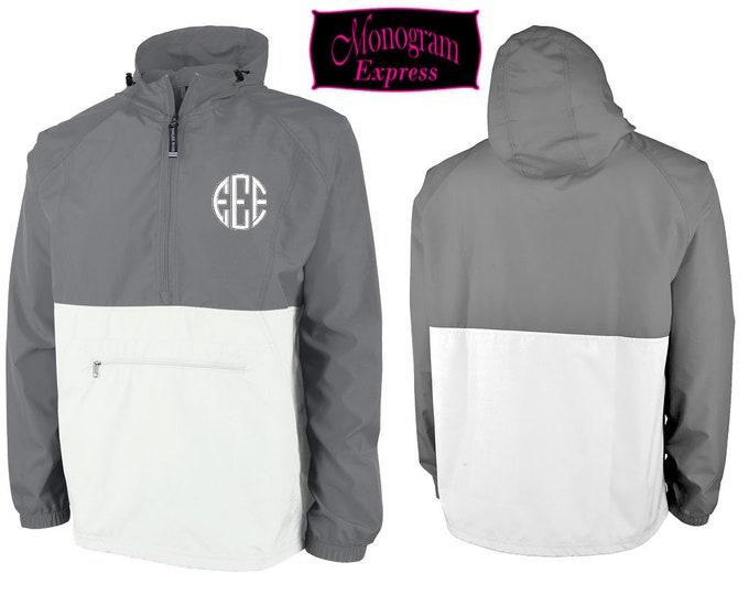 Monogrammed Quarter Zip Pullover Windbreaker | Personalized Lightweight Hooded Adult Color Blocked Unisex Rain Jacket | Grey White Pack-N-Go