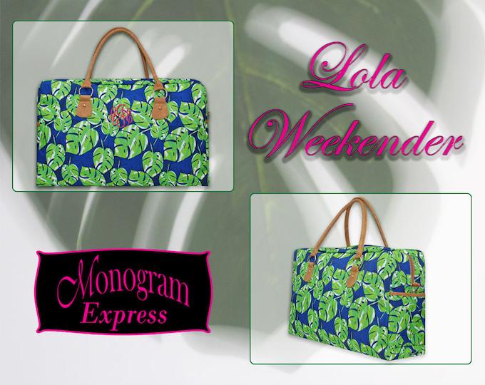 Monogrammed Large Navy Blue Polyester Tropical Green Palm Leaf Design Weekender Carryall Bag