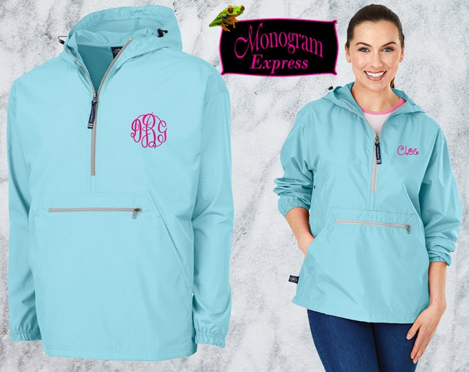Monogrammed Quarter Zip Pullover Jacket | Personalized Adult Unisex Raincoat | Lightweight Hooded Quarter Zip Windbreaker | Aqua Pack-N-Go