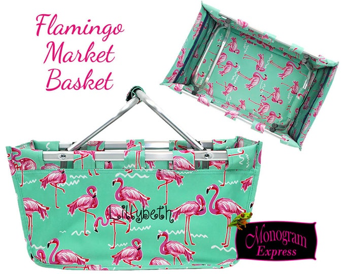 Personalized Market Tote | Monogrammed Picnic Basket | Embroidered Reusable Shopping Basket | Large Collapsible Carrier | Flamingo Basket