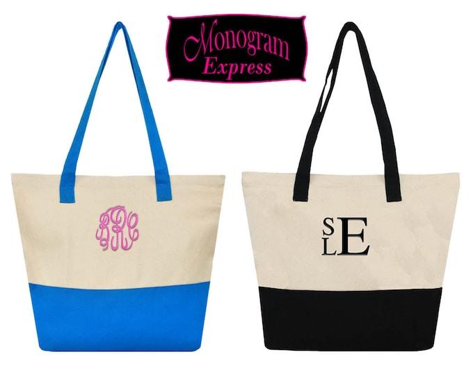 Monogrammed Tote Bag | Personalized Tote Bag | Beach Tote Bag | Canvas Tote Bag | Travel Tote Bag | Two Toned Snap Closure Canvas Handle Bag