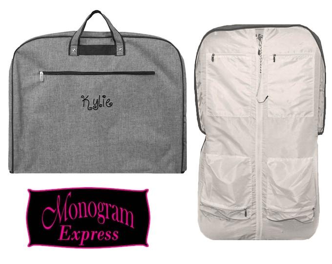 Personalized Garment Bag   Monogrammed Garment Bag   Luggage Garment Bag   Mens Garment Bag   Travel Bag   Groomsmen Gift   Grey Garment Bag